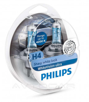 Автолампы Philips WhiteVision Ultra H4 комплект 2шт. + W5W 2шт. 12342WVUSM