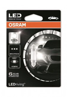 Лампа светодиодная OSRAM LEDriving C5W LED 12V 1W 6000K 41MM SV8,5-8