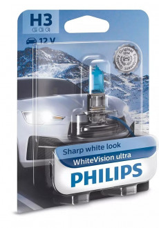 Автолампы Philips H3 WhiteVision ultra +60% (3900K) 12V 55W PK22s 1шт (12336WVUB1)