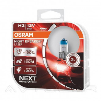 OSRAM Night Breaker Laser +150% Н3 64151NLHCB 2шт в комплекте