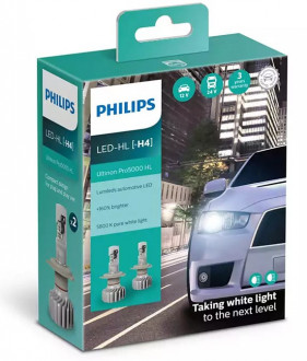 Автолампы Philips Ultinon Pro 5000 H4 LED 12/24V 15W 5800K P43T (11342U50CWX2) 2шт