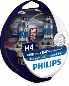 Автолампы Philips RacingVision +150% H4 60/55W 12342RV (2шт.)