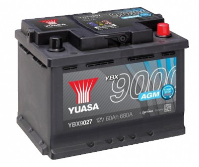 Аккумулятор YUASA AGM Start Stop Plus Battery 60Ah (680A) -/+ (0) YBX9027