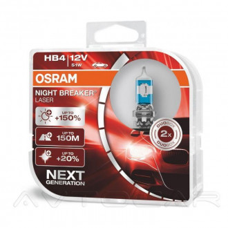OSRAM Night Breaker Laser +150% НB4 9006NLHCB 2шт в комплекте